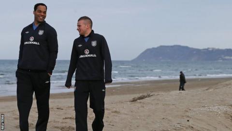 England defender Joleon Lescott (left)