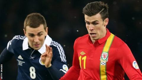 Gareth Bale in action against Scotland
