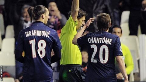 Zlatan Ibrahimovic (left) sent off
