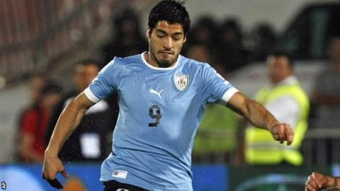 Uruguay's Luis Suarez in action during the defeat against Chile