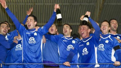 Queen of the South celebrate their Second Division title success