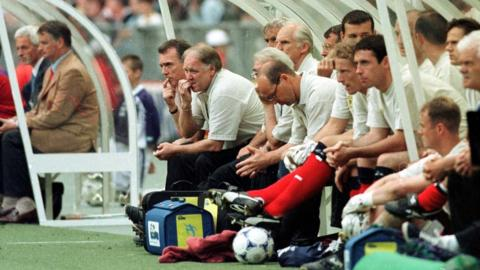 Craig Brown looks on nervously as his side play Brazil in Paris