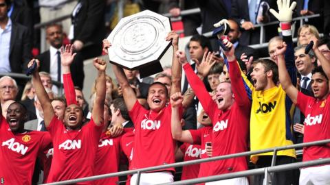 Manchester United players lift the Community Shield