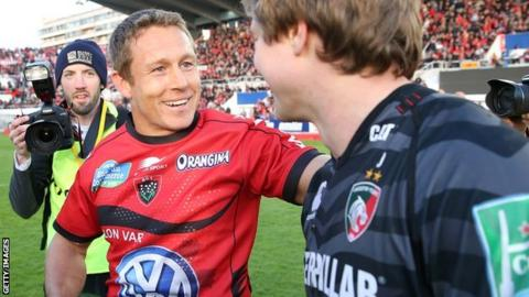Toulon match winner Jonny Wilkinson is congratulated by former Newcastle and England team-mate Mathew Tait