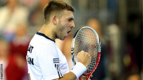 Dan Evans in action for Great Britain in the Davis Cup