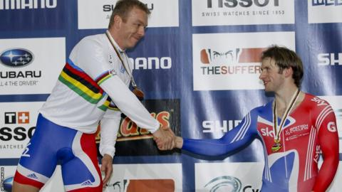 Chris Hoy (left) on the podium after winning the keirin final at the 2012 World Championships in Melbourne