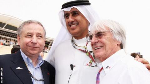 Jean Todt, Bernie Ecclestone and Zayed Al Zayani