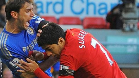Chelsea defender Branislav Ivanovic (left) was bitten by Liverpool striker Luis Suarez