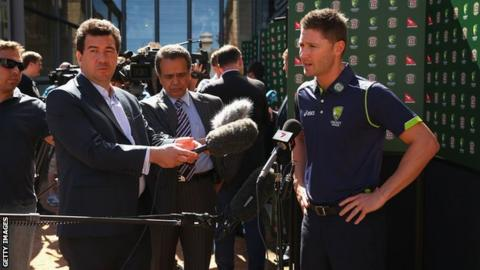 Australian cricket test captain Michael Clarke is interviewed during the 2013 Australian Ashes squad announcement