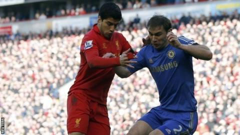 Luis Suarez and Branislav Ivanovic