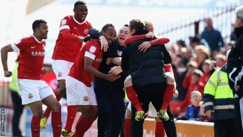 Chris O'Grady (c) of Barnsley celebrates his goal during the Championship match between Barnsley and Hull City