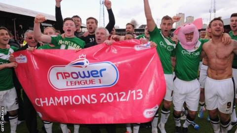 Doncaster Rovers celebrate promotion