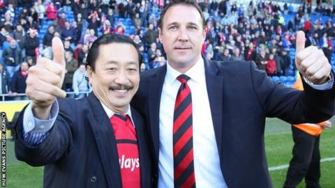 Vincent Tan with Malky Mackay