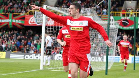 Joe Gormley celebrates after putting Cliftonville ahead on 34 minutes