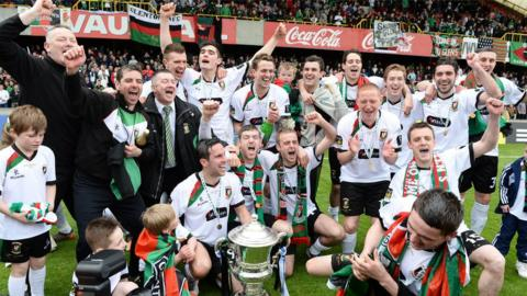 It's time to celebrate for Glentoran after their surprise victory over Cliftonville in the Irish Cup final
