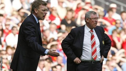 New Manchester United boss David Moyes and predecessor Sir Alex Ferguson