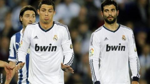 Real Madrid duo Cristiano Ronaldo (left) and Raul Albiol