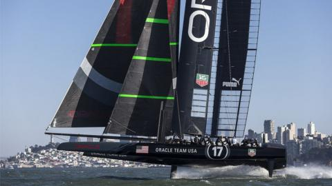 2013: As holders, Oracle have the right to determine the boats and format for the next America's Cup and devise a new class of boat, a 72ft catamaran (called the AC72) with a solid 'wing' sail, capable of speeds up to 45 knots (50mph).