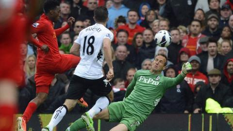 Liverpool striker Daniel Sturridge scores against Fulham