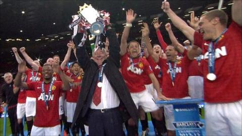Sir Alex Ferguson lifts the Premier League trophy