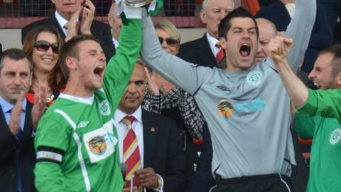 Sam Cochrane and Chris Tardif lift the Muratti vase in 2012 for Guernsey