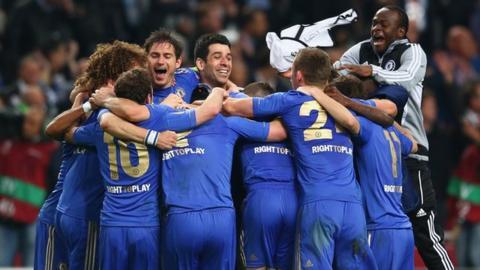 Chelsea celebrate winning the Europa League