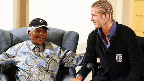David Beckham and Nelson Mandela