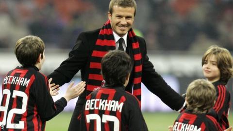 David Beckham greets young AC Milan fans