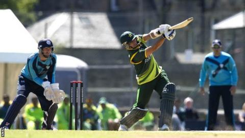 Pakistan's Saeed Ajmal earns another four runs for the visitors