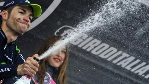 Italys Giovanni Visconti celebrates his stage win