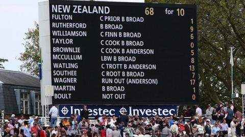 The Lord's scoreboard shows New Zealand dismissed for 68