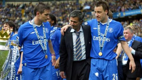 Frank Lampard, Jose Mourinho and John Terry