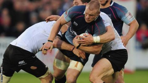 Bedford's Darren Fox on the attack