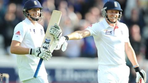 Joe Root (left) celebrates his maiden Test century with Yorkshire and England colleague Jonny Bairstow