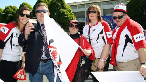 Ulster fans gather outside the ground before the Pro12 decider