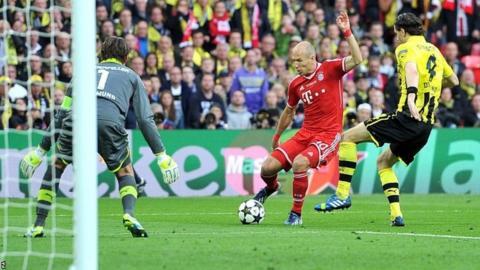 Bayern Munich forward Arjen Robben shoots at goal