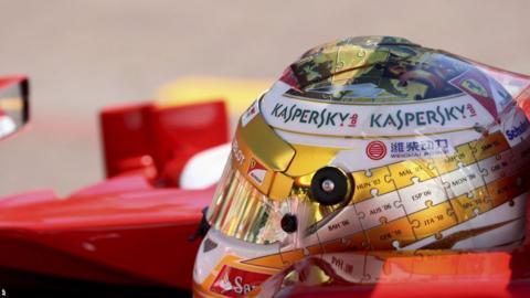 Fernando Alonso wearing a new helmet