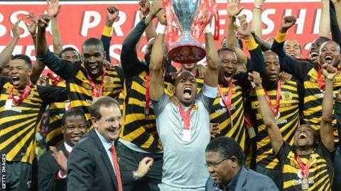 Kaizer Chiefs celebrate winning the South African premier league title