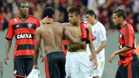 Neymar of Santos, says farewell to Flamengo players at the end of their Brazilian Championship match at Brasilia's National Stadium