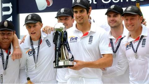 England captain Alastair Cook celebrates his team's 2-0 series win against New Zealand