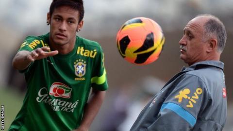 Neymar and Brazil coach Luiz Felipe Scolari