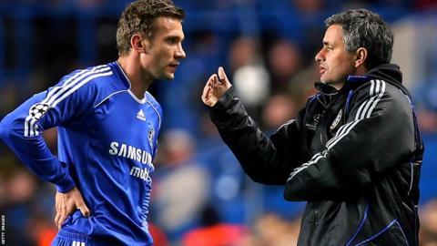 Andriy Shevchenko with Jose Mourinho