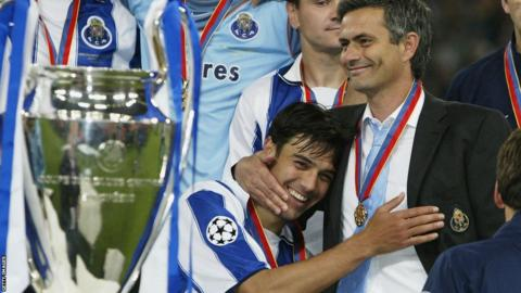Jose Mourinho celebrates winning the Champions League with Porto