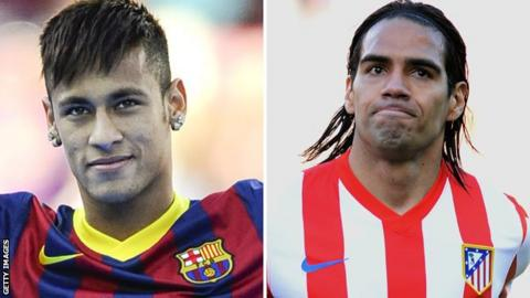 Neymar and Radamel Falcao