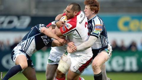 John Afoa break through a tackle