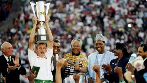 Nelson Mandela with the South Africa football team