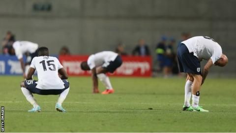 Dejected England players after the European Under-21 Championship defeat to Norway