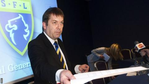 SFL chief executive David Longmuir addresses the media at Hampden
