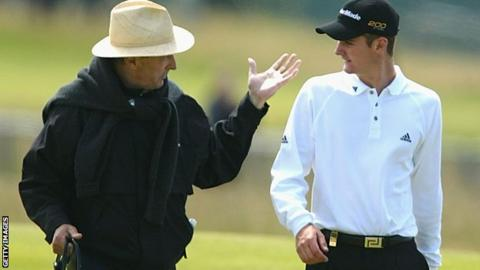 Justin Rose with his father Ken during practice for the 131st Open Championship at Muirfield
