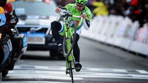 Slovakia's Peter Sagan winning Gent-Wevelgem